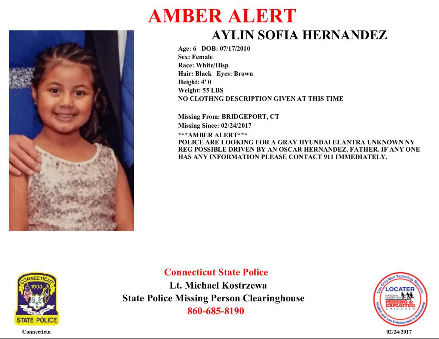 Amber Alert issued for Bridgeport child following homicide
