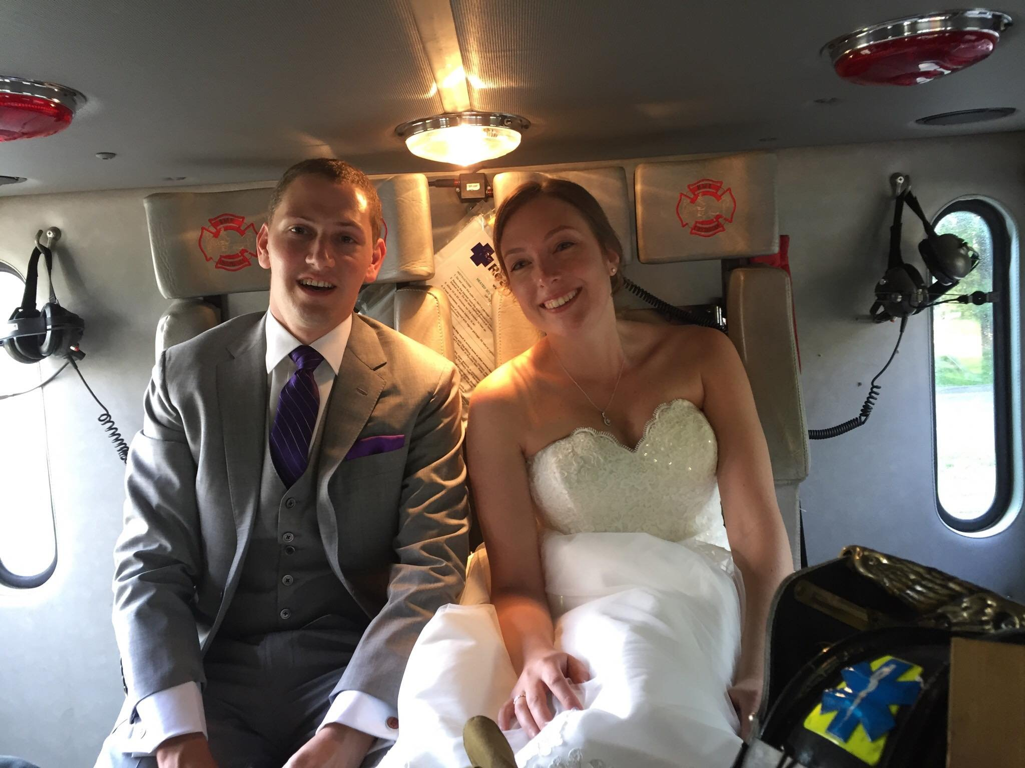 Firefighters help bride and groom get to wedding reception