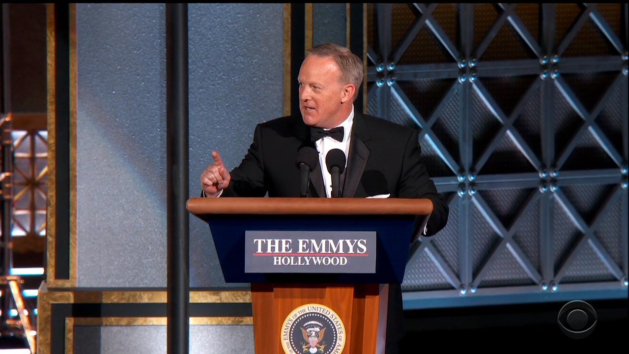 Stephen Colbert mocks Trump at the Emmys by bringing out Sean Spicer