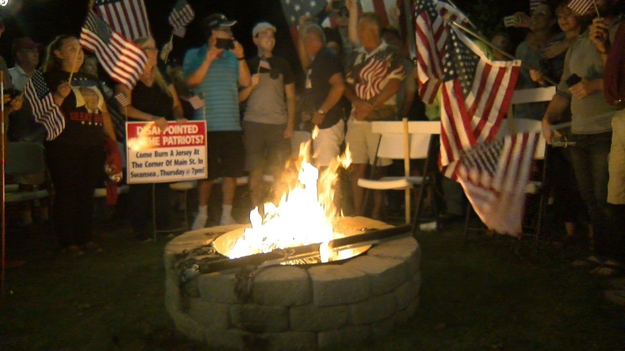 Dozens of Patriots Fans Got Together to Burn Patriots Stuff in Protest
