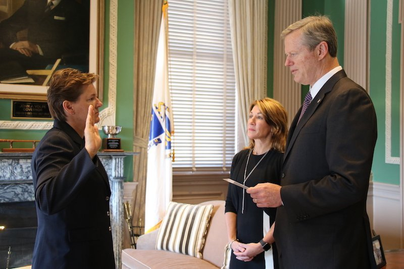 Gov. Baker swears in Colonel Kerry Gilpin as superintendent of the Massachusetts State Police