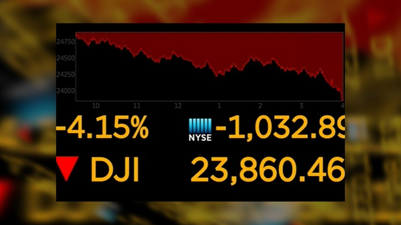 Dow plunges more than 1000 points on specter of higher interest rates