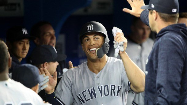 Giancarlo Stanton Homers in First At-Bat as a Yankee
