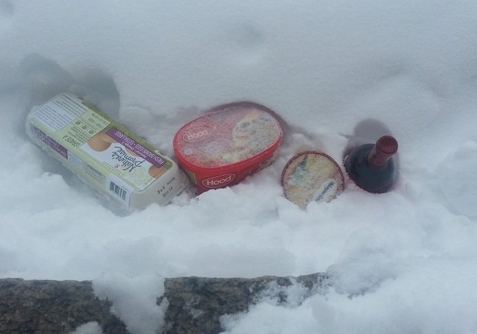  The essentials.. When my power died here is what I stored in the snow