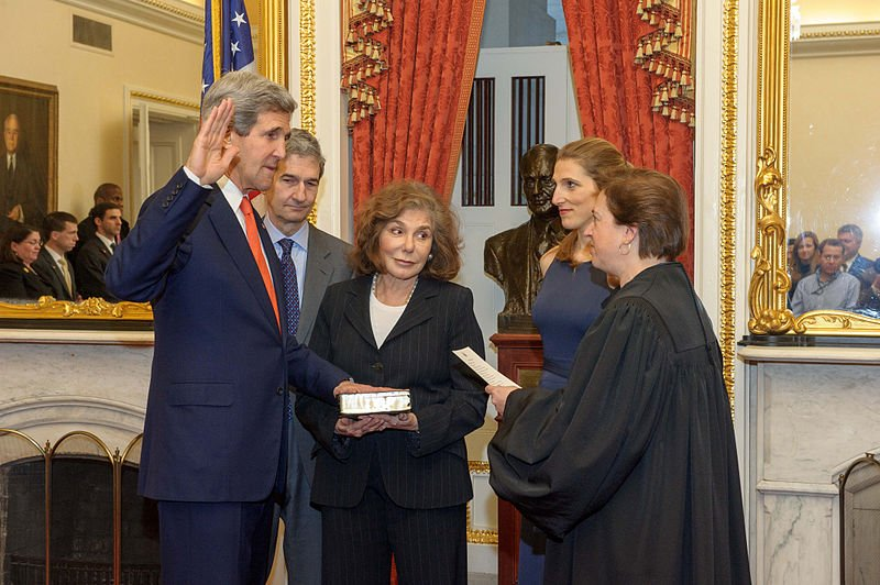 Supreme Court Justice Elena Kagan swears in Secretary of State John Kerry on February 1, 2013 in the Foreign Relations Committee Room in the Capitol. They were joined by his wife Teresa, daughter Vanessa, brother Cameron, and his Senate staff.