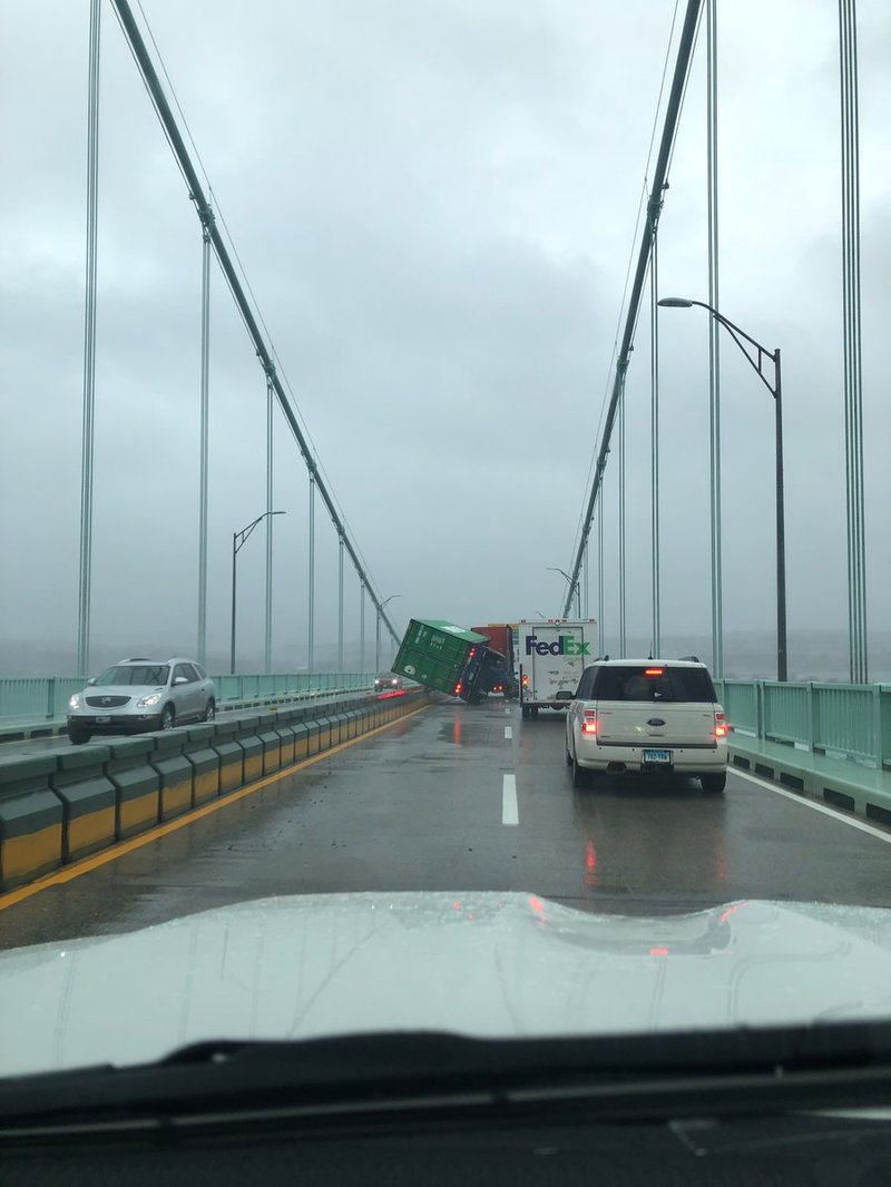 Tractor trailer tips over on newport bridge abc6 providence courtesy of jennifer huntley 1betcityfo Gallery